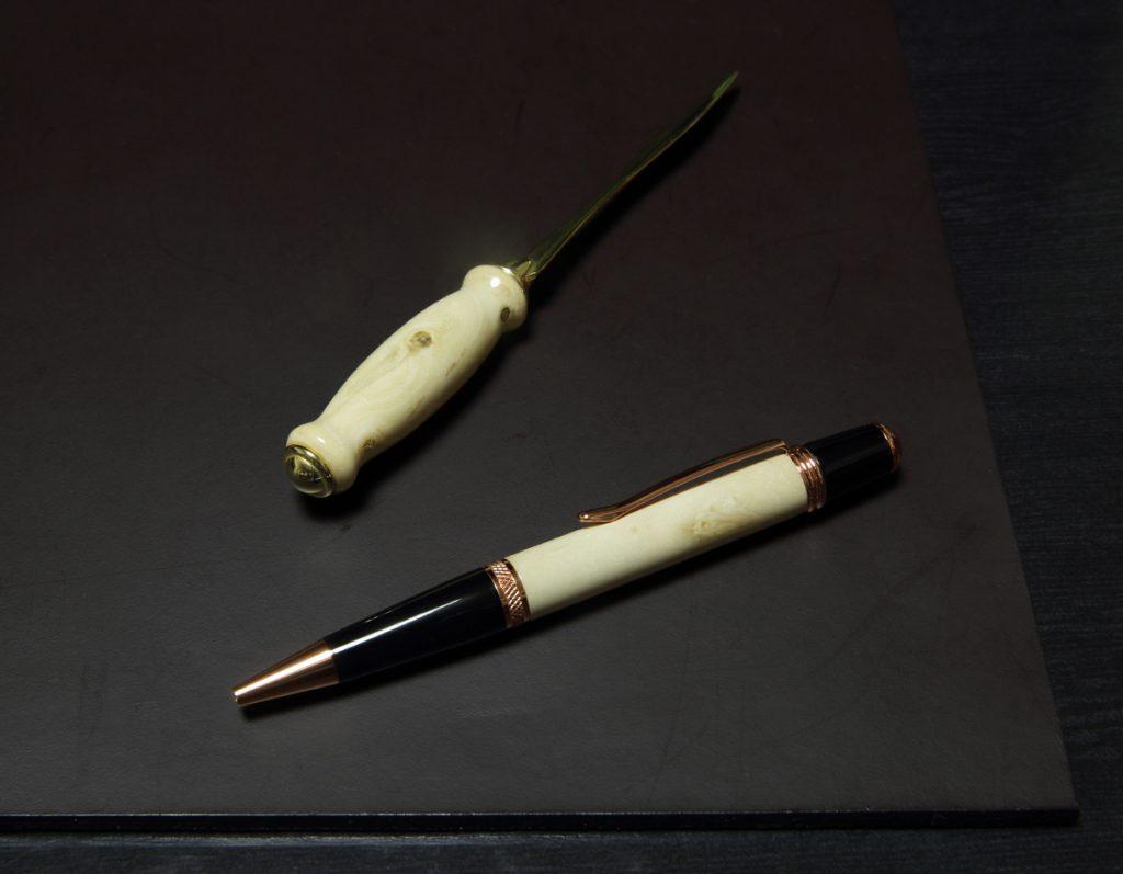 プリペットによる木工芸:ボールペンとペーパーナイフ