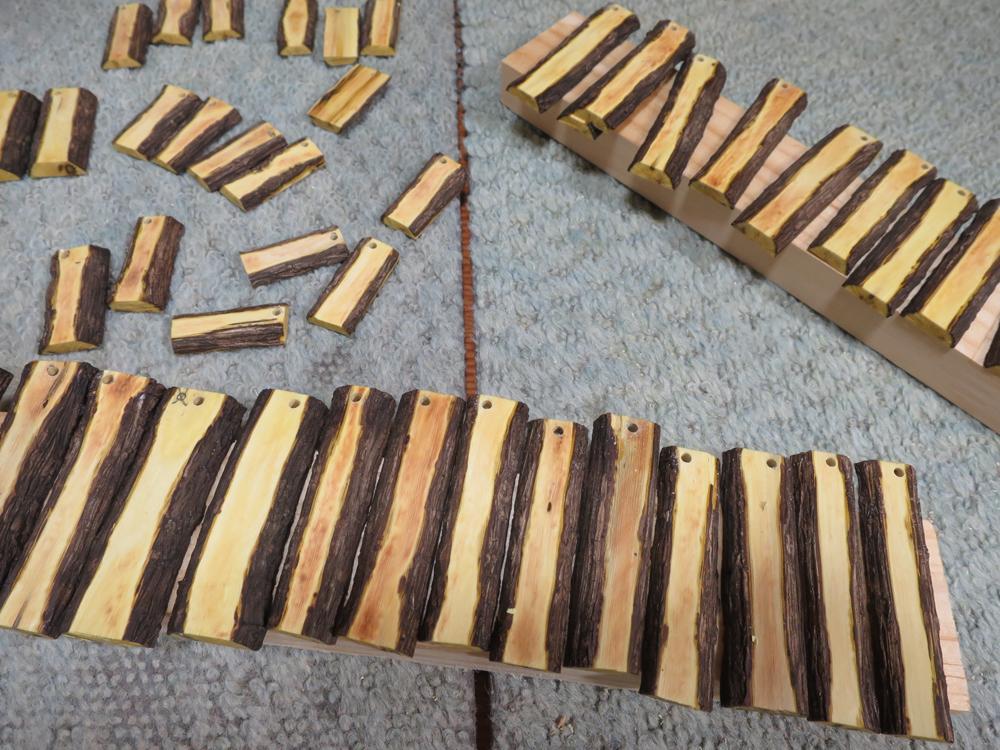 ナンテンによる櫛の製作:保持穴の状況